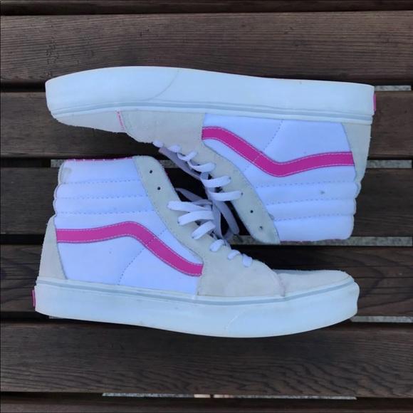 Vans Shoes | Vans White Pink High Tops